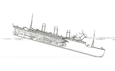 Titanic descent 2:11am - 2:14am