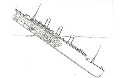 Titanic descent 2:15am - 2:17am