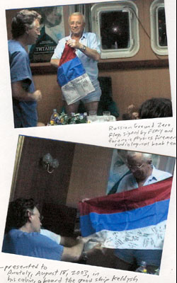 Pellegrino presenting Russian Ground Zero flag